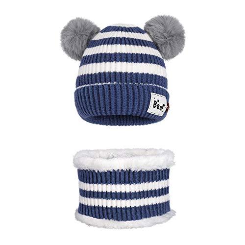 MaoXinTek Baby Hut Schöne Winter Warm Strickmütze mit Schal für Kleinkinder Mädchen Jungen 3-24 Monate Blau