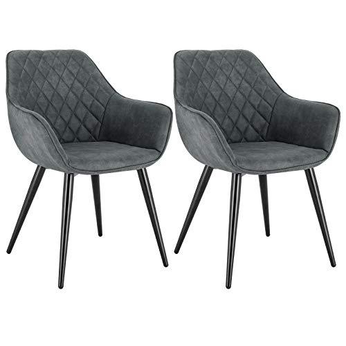 WOLTU Esszimmerstühle BH231gr-2 2er Set Küchenstühle Wohnzimmerstuhl Polsterstuhl Design Stuhl mit Armlehne Stoffbezug Gestell aus Stahl Grau