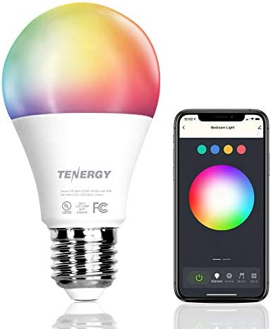 Tenergy Smart WiFi Led Light Bulb with White and Color Changing Light Bulb A19, No Hub Required LED Bulb with APP Compatible with Alexa and Google Home Assistant
