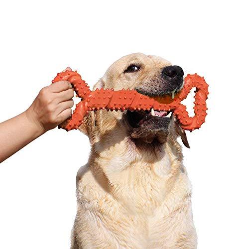 LANYUKEJI Robustes Hundespielzeug 13 Inch Knochen geformt Kauspielzeug aus Hartgummi mit Konvexes Design stark interaktives Spielzeug für große kleine Hunde, Zähne reinigen und Zahnfleisch massieren