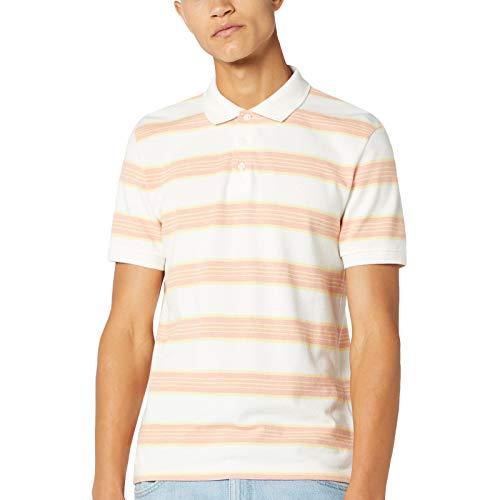 Wrangler Mens SS Streep Katoen Polo shirt met korte mouwen - Off White