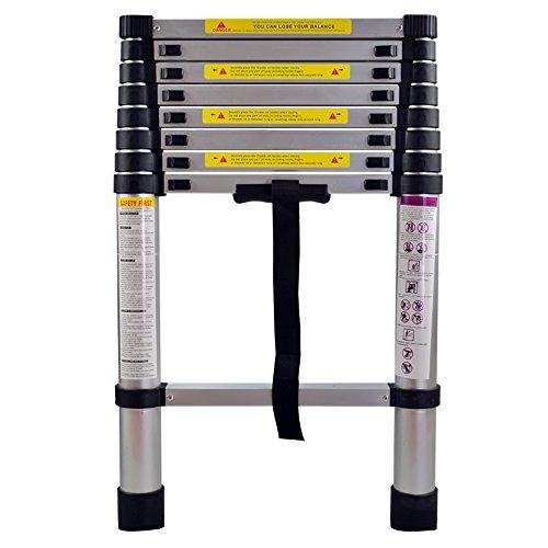 HENGMEI 3.2m Plegable Escalera telescópica de Aluminio Escalera Extensible Plegable Multipropósito Portátil