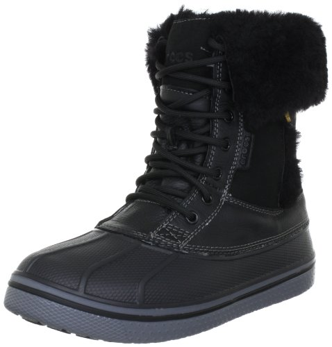 Crocs AllCast Luxe Duck Boot, Damen Schneestiefel, Schwarz (Black/Charcoal), 36/37 EU