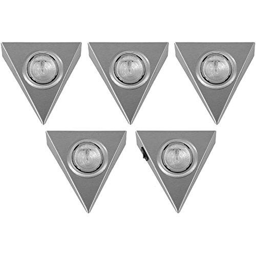 Dreieckleuchte 5er Set Halogen -warmweiß-Pyramiden Leuchten MIT Schalter ein Strahler im Set mit Hauptschalter inklusive 12 V Trafo und Stecker am Strahler AMP Stecksystem 20 Watt Unterbauleuchte mit Reflektor Anbauleuchte Dreieckstrahler DELTA MINI Küchenstrahler Dreieck-IKM