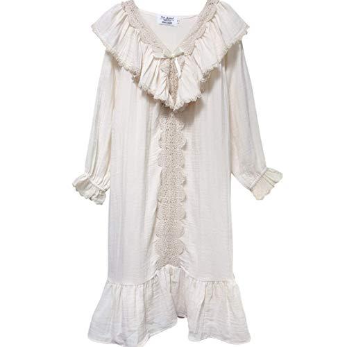 LEYUANA Nachthemd Frauen Langarm Nachthemd Kleider Vintage MB