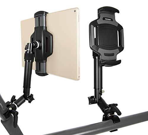 """PHOTECS® Tablet-Halterung Pro V4-K2, höhenverstellbar mit Winkelelement, für iPad Pro und andere Tablet-PC´s (von 6\"""" bis 14 Zoll) an Rudergerät, Heimtrainer, Ergometer-Lenker, Kommissionierwagen etc."""