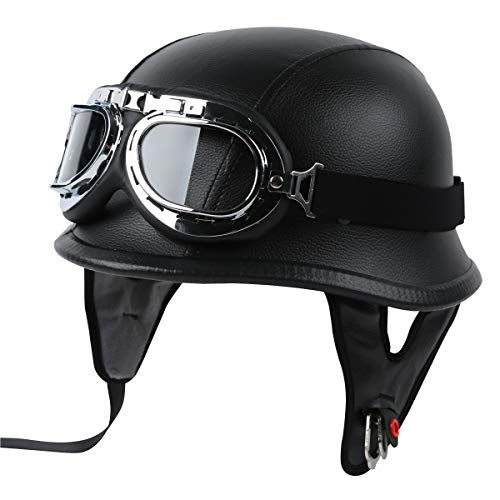 TCT-MT DOT Helmet+Goggles Motorcycle Adult German Leather Half Face Helmet W/Biker Pilot Goggles Cruiser Touring Scooter Helmets Medium PU Leather Black Helmet