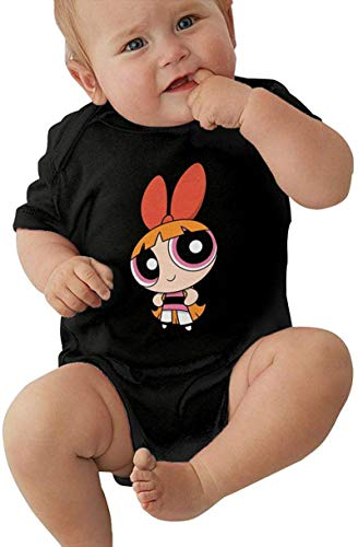 Powerpuff Girls Blossom Baby Outfits Short Sleeve T-Shirt Bodysuit Romper Black