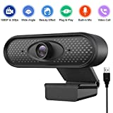 HD 1080P Webcam Pro, 2 Megapixel Streaming Web Camera with Noise Reduction Microphone, Widescreen USB Computer Camera or Streaming Gaming Conferencing Mac Windows PC Laptop Desktop
