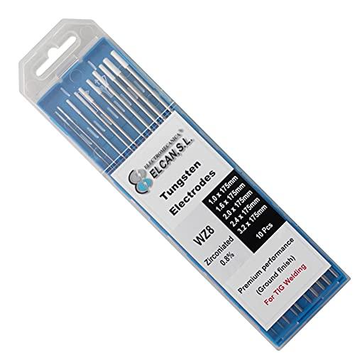 ELCAN Tungstenos soldadura TIG Zirconio 0.8% Blanco AZ8 profesional, electrodos soldadura para torcha TIG de 1,0 1,6 2,0 2,4 3,2 mm, 10 unidades - Dimensiones: 1,0/1,6/2,0/2,4/3,2 x 175 mm