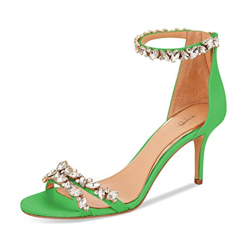 XYD Women Mid Heel Rhinestone Strappy Sandals Open Toe Ankle Strap Prom Evening Party Dress Shoes Size 15 Lime Green