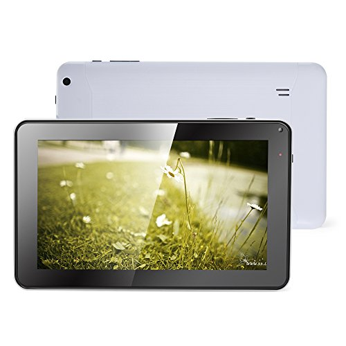 Haehne 9 Pollici Tablet PC - Google Android 4.4 Kitkat, Quad Core Multi-Point Capacitivo, TFT LCD Touch Screen, Doppia Fotocamera, WiFi, 512MB RAM 8GB ROM, Bianco
