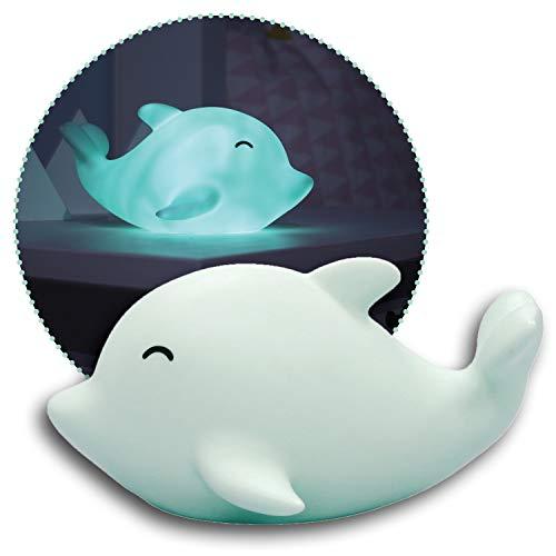 Reer lumilu Sea Life Dolphin, süßes Delfin-Nachtlicht, tolles Taufgeschenk, Geburtstags-Geschenk für Jungen und Mädchen, grün, 52293