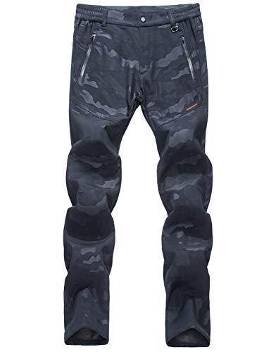 LY4U Mujer Pantalones de Senderismo con Forro Polar Softshell Al Aire Libre Resistente al Agua Resistente al Viento Camping Caminar Pantalones de esquí para Otoño/Invierno/Primavera