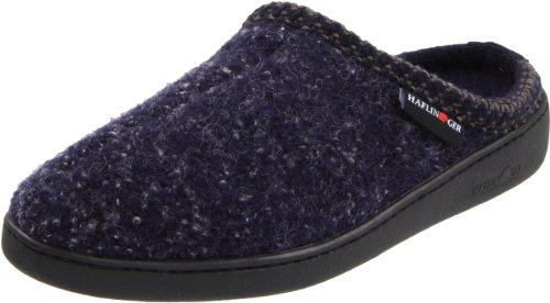 HAFLINGER Unisex AT Wool Hard Sole Slippers, Navy Speckle, 39EU