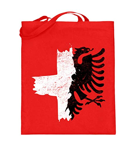 ALBASPIRIT Halb Albanien Schweiz Fahne T-Shirt Albanischer Adler Kreuz Schweizer Flagge - Jutebeutel (mit langen Henkeln)