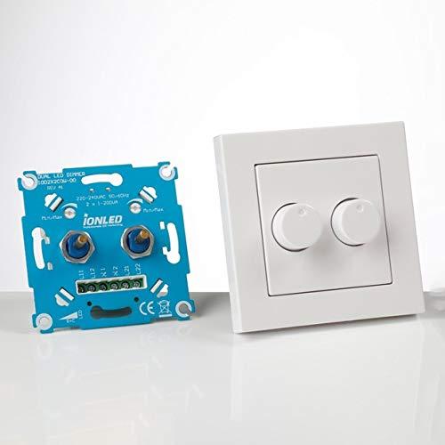 Duo LED Dimmer mit Frontplatte 2x 200w - Ion Industries - Gewinner Innovation Award - Dimmschalter - Dimmbare Led - Professioneller dimmbarer Lichtschalter - Drehdimmer - Doppel Dimmer