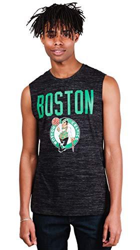 Ultra Game NBA Boston Celtics Mens Jersey Sleeveless Muscle T-Shirt, Black Space Dye, Small