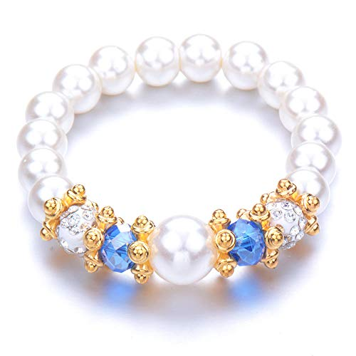 Pulseras Brazalete Joyería Mujer Bead Pearl Pulseras Brazaletes Pulsera De Cuentas Crystal Beads Jewelry Gift-Platinum_Plated