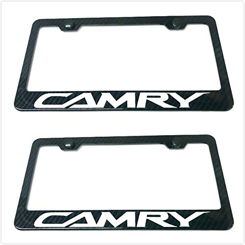 Lavnox Carbon Fiber Metal Camry License Plate Frame Tag Cover Holder Mount for Toyota Camry (2)