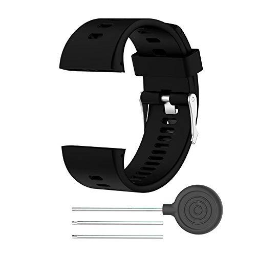 Tarente TPE Venda del Reloj de reemplazo de la Correa de Reloj de Ajuste del cinturón Compatible con Polar V800 Reloj Smart Watch (Negro)