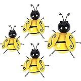 Sinolofty 4 Stücke Biene Metall Wanddekoration, Wespe Gartendeko Insekten Wandkunst, für Garten und Balkon deko