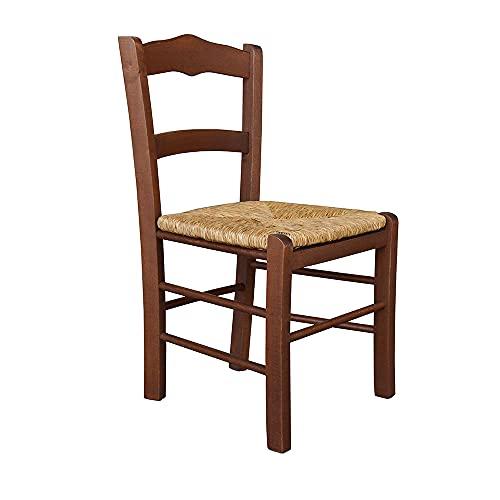 Sedia della nonna Mezzana in legno di faggio, seduta paglia, 71x33x39 cm (Noce)