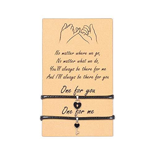 VU100 2PCS Amistad Pulseras de corazón Regalos para niñas, Cerradura de Amor & Llave en Forma de corazón Pulsera de Cuerda Ajustable para Mujer Linda Distancia Pareja Novia Relación Regalo