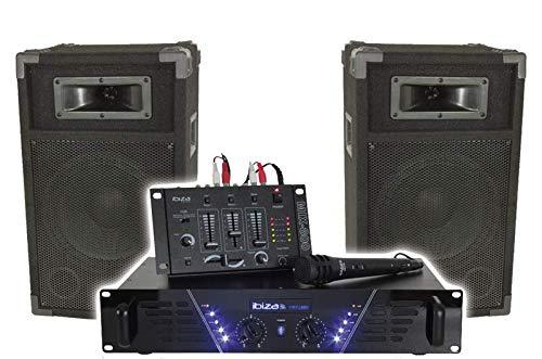 BESCHALLUNGSANLAGE KOMPLETT SET IBIZA DJ300 DISCO SOUND LAUTSPRECHER SET MIT VERSTÄRKER MISCHPULT UND MIKROFON PARTY DISCO MUSIK DJ EVENT BÜHNE