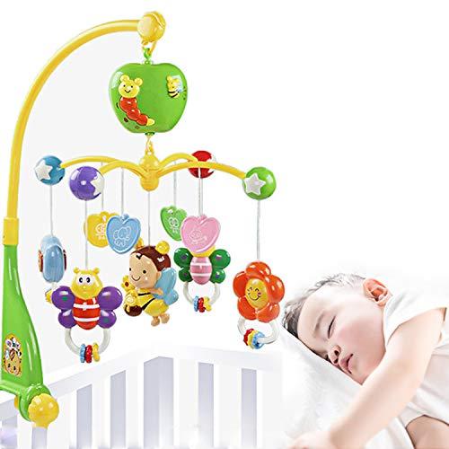 AJAMQ Baby Mobile para Cunas con Música, Cuna Móvil con Luz Nocturna Y Proyector, Control Remoto Y Juguete para Empacar Y Jugar