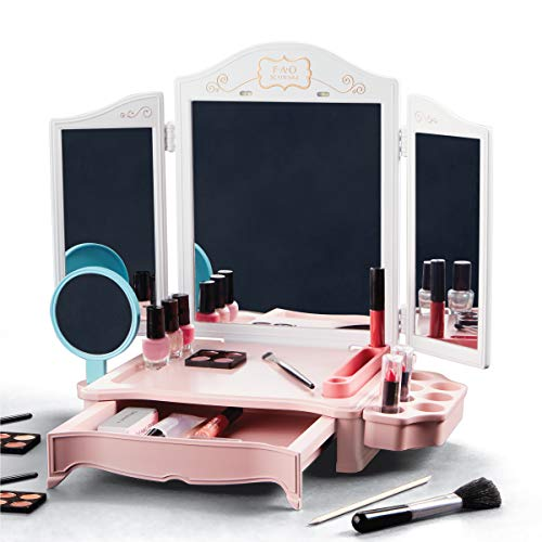 FAO Schwarz Girls LED Makeup Vanity Studio Kit, Includes Eyeshadow, Blush, Foundation, Nail Polish, Lipstick, Lip Gloss, Primer and Brushes, Cosmetic Beauty Set for Children Kids Teens Ages 8+