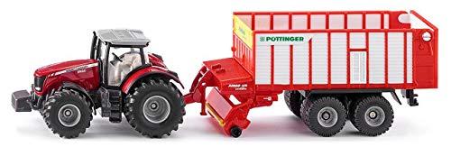 Siku 1987 - Massey Ferguson Traktor mit Pöttinger Häckselwagen, 1:50, Metall/Kunststoff, Viele Funktionen, rot