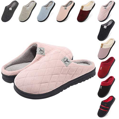 incarpo Zapatillas Casa Mujer Lana de Coral Zapatillas de Estar por Casa Antideslizante Pantuflas de Interior y Exterior Cálido y Confortable Zapatillas-Rosa-38/39 EU
