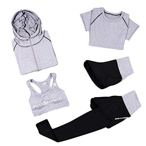 Xinwcang Damen Yoga Kleidung Anzug 5er-Set Gym Fitness Kleidung Set Schnell trocknend Lauf Jogging Trainingsanzug Grau2 S