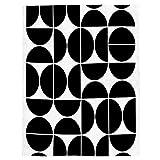 Mid Century Modern Geometric Negro Patrón Manta de Franela Plaid Suave Acogedora Mullida Cálida Mantas de Lujo la 100% Microfibra para Modernas Colcha Sofa Manta-180x240cm