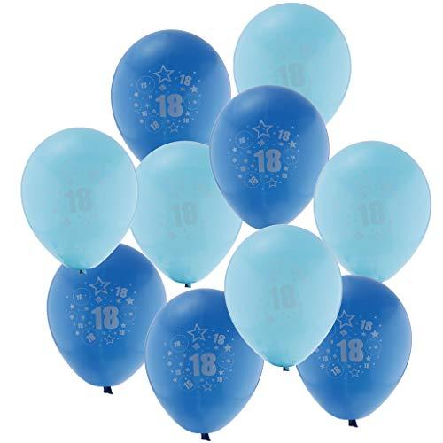 Sharplace 10 Pièces Ballon de Latex Age 18 Décoration pour Fête d'anniversaire de 18 Ans - Bleu