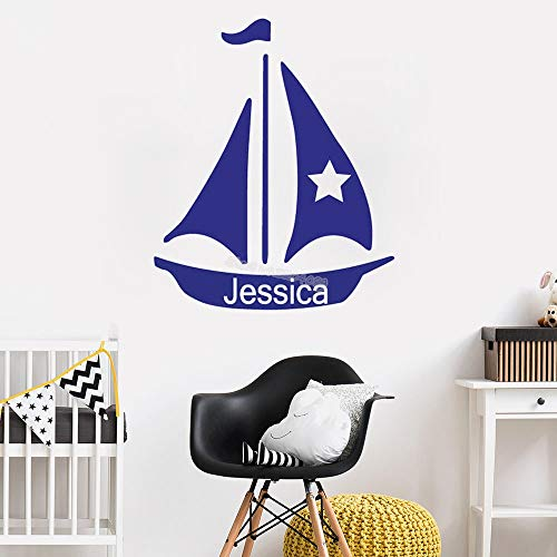 Sailing Name Personalized Vinyl Wall Decal Nautical Sticker Bedroom Ship Wheel Nursery Decoration Boy Room Removable Mural 72x84cm
