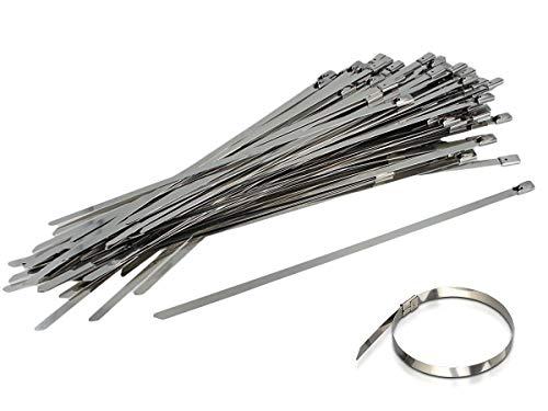 LEDLUX 100 bridas de acero inoxidable de 4,6 mm de ancho y metal de grado 304 para atar cables, tubos (250 mm)