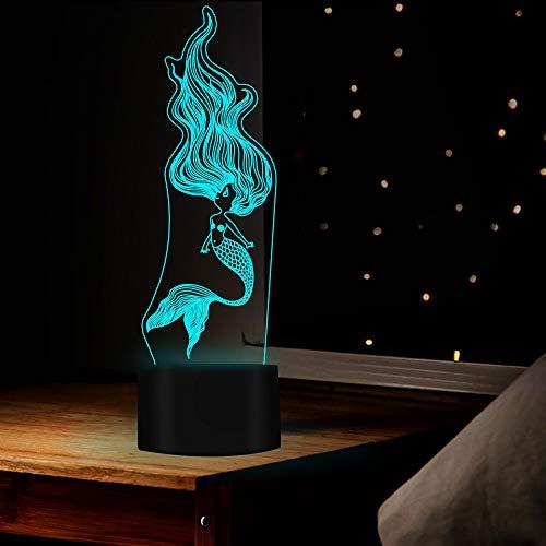 Qaq Starry Skylamp voor tafel in sirenevorm in de vorm van een nachtlampje met 7 gekleurde lampjes als geschenk of decoratie