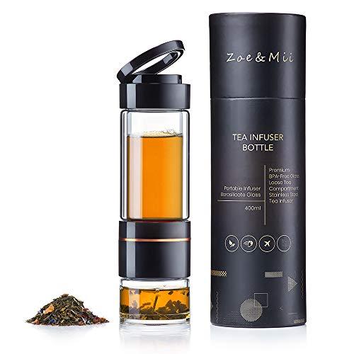 Zoë&Mii Premium Teeflasche 400 ml aus Glas und Edelstahl mit Sieb und Teeglas - Infuser Glastrinkflasche - Teebereiter to Go aus Borosilikatglas - Glasflasche (400ML)