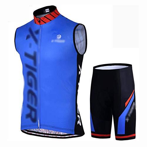 YXX Maillot Ciclismo Hombre Verano Pantalones Bicicleta Bike Biking Wear+Ciclismo Reflectante Transpirable,Azul,XXL