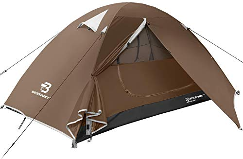Bessport Camping Tent 1 and 2 Person Lightweight Backpacking Tent Waterproof Two Doors Easy Setup Tent for Outdoor, Hiking Mountaineering Travel (2-person-Brown)