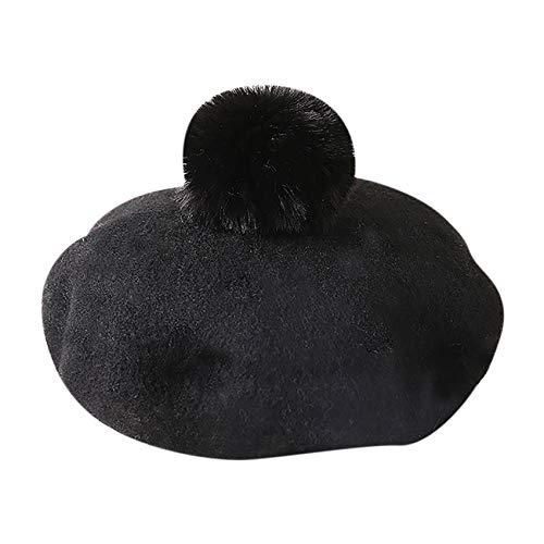 Gorro de lana para niñas de invierno clásico estilo francés boina gorro de princesa decorado con perla - - Talla única