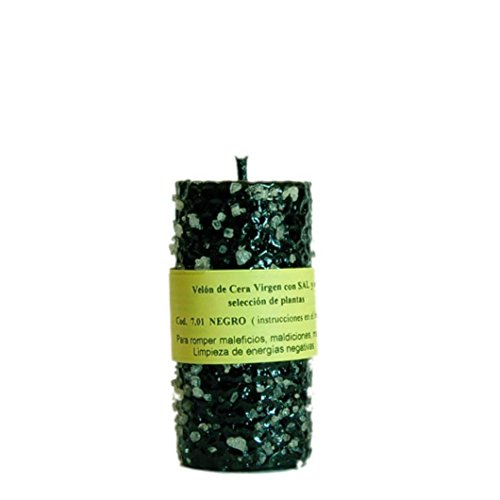 Vela Sal Limpieza Espiritual. Color Negro, Cera de Abeja con Plantas, ritualizada