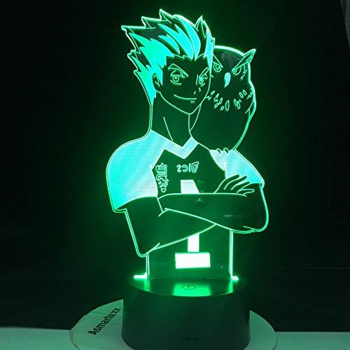 Lámpara de ilusión 3D Luz de noche LED Haikyuu Hinata Shoyo Sugawara Koushi Kageyama Tobio Lámpara de figura de anime con sensor de movimiento Regalo de luz Regalo de cumpleaños de niño niña