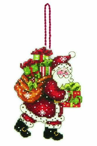 DIMENSIONS Counted Cross Stitch Santa with Bag Christmas Ornament Kit, 3.5'' W x 4.5'' H