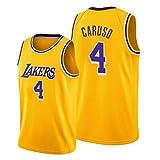 Z/A Los Angeles Lakers Alex Caruso # 4 Ropa De Baloncesto Jersey Men's Sportswear Entrenamiento Deportivo Sudadera Suelta Chaleco De Manga Corta Top Camiseta,S