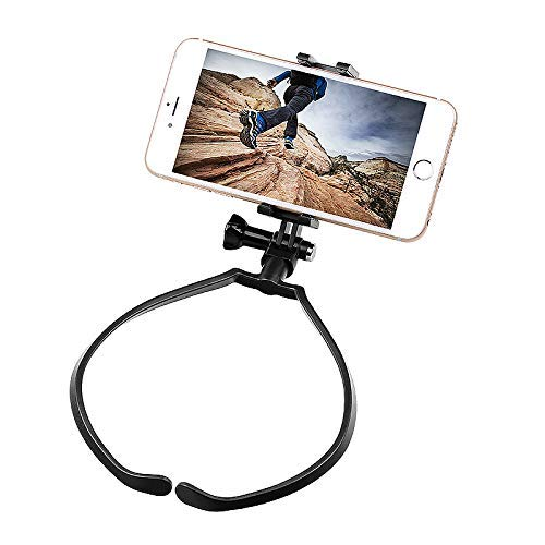 FastSun Phone Neck Holder Lazy Neck Holder Stand Universal Neck Hanging Holder Smart Phone Sport Camera Self-Timer Tool Adjustable 4-6 inch Bracket for iPhone Samsung for GoPro