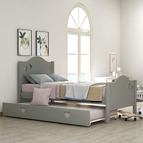 Merax Solid Wood Twin Daybed with Pull Out Trundle, Captains Bed Twin Trundle Bed Loving Shape for Kids (Grey)