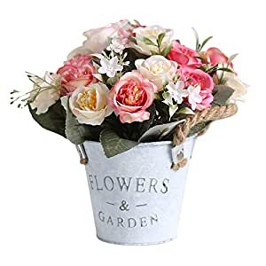 Mokyler Artificial Flower Pot, Artificial Hibiscus Rose Planter with Hemp Rope Faux Potted Hibiscus Rose Container Box Metal Pot Bonsai for Home Office Table Party Decor (4.3×7.9In)
